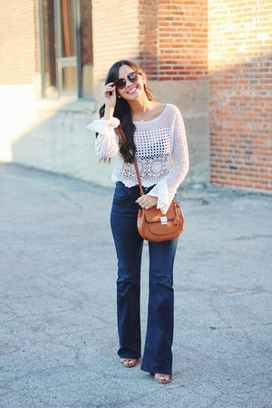 crossbody Aldo bag - JustFab shoes - flared H&M jeans - Forever 21 sunglasses