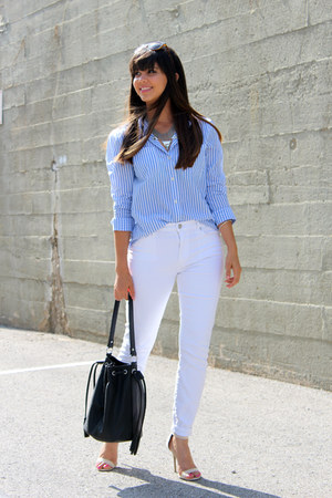 pinstriped Forever 21 shirt - Lulus shoes - white Loft jeans