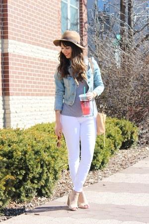 denim Forever 21 jacket - open-toe JustFab shoes - white Loft jeans