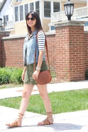 denim Charlotte Russe vest - striped H&M shirt - crossbody Forever 21 bag