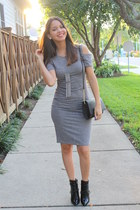 black shoes - heather gray cutout Forever 21 dress - black crossbody H&M bag