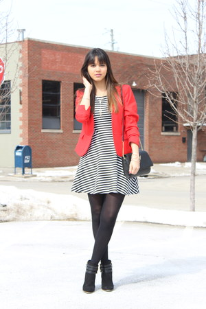 H&M blazer - Target boots - Forever 21 dress - Target tights - H&M purse