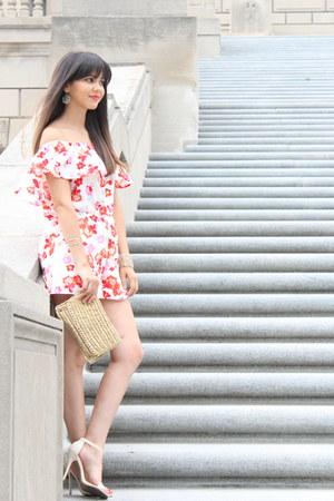 floral Charlotte Russe romper - Lulus shoes - clutch H&M bag
