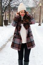 plaid Forever 21 coat - black skinny Charlotte Russe jeans - beanie Old Navy hat