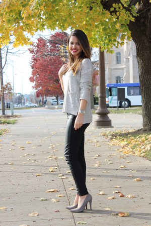 sequin Nordstrom sweater - pleather H&M pants - Forever 21 heels