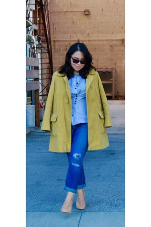 mustard Anthropologie coat - sky blue American Eagle jeans