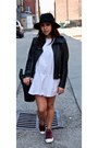 White-zara-dress-black-mango-jacket-black-zara-bag