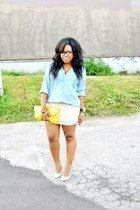 light blue Forever 21 shirt - cream Aldo shoes - yellow H&M bag