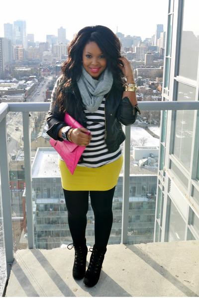 H&M shirt - Joe Fresh boots - Spring scarf - asos bag - H&M skirt