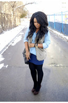 faux fur vest sears vest - chambray Forever 21 shirt - mini H&M skirt