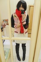 pink coat - red scarf - white dress - black boots