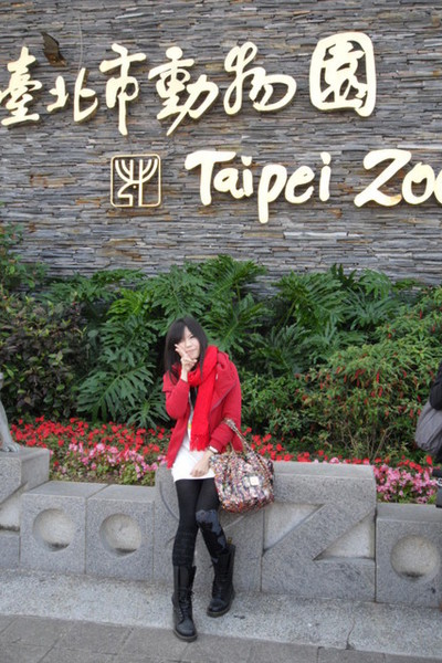 red scarf - red coat - white dress - black leggings - black Dr Martens boots