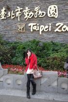 red scarf - red coat - white dress - black leggings - black Dr Martens boots