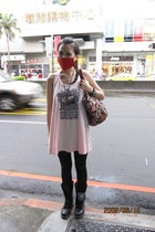 pink dress - black leggings - black Dr Martens boots