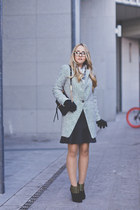 heather gray Choies coat - black Forever 21 boots - black Rebecca Minkoff bag
