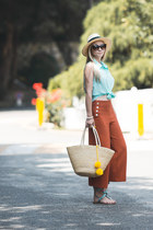 carrot orange Forever 21 pants - aquamarine Forever 21 top