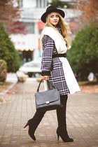 black Lulus boots - white Kate-Katy coat - black Choies hat - white asos scarf