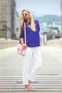 Bubble-gum-persunmall-bag-blue-oasap-blouse-white-choies-pants
