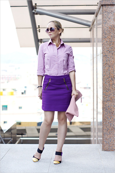 purple Zara skirt - amethyst Victorias Secret shirt - light pink Miss Nabi bag