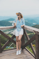 light blue romwe shirt - black ray-ban sunglasses - white Adidas sneakers