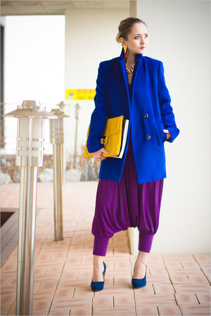 yellow asos bag - blue Sheinside coat - purple jumpsuit Miss Nabi suit