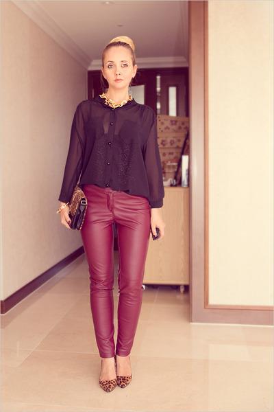 gold Sheinside bracelet - black Miss Nabi blouse - mustard Miss Nabi heels