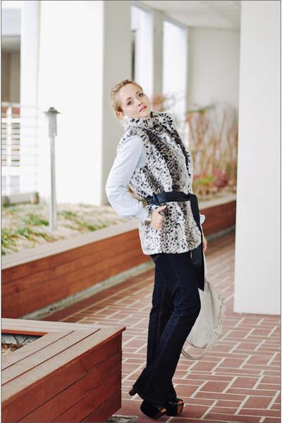 silver Forever 21 vest - black Levis jeans - eggshell Miss Nabi bag