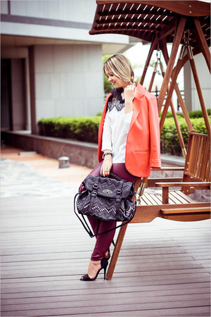 black Chicwish bag - hot pink Sheinside blazer - white BangGood blouse