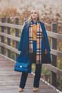 Blue-ellen-dane-coat-mustard-burberry-scarf-blue-romwe-bag