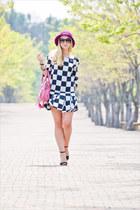 black Chanel sunglasses - white Sheinside dress - amethyst asos hat