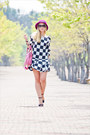 White-sheinside-dress-amethyst-asos-hat-bubble-gum-balenciaga-bag