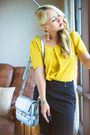 Silver-stylemoi-bag-yellow-oasap-blouse-black-choies-pants