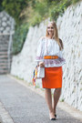 White-rebecca-minkoff-bag-white-glamorous-blouse-light-orange-choies-skirt