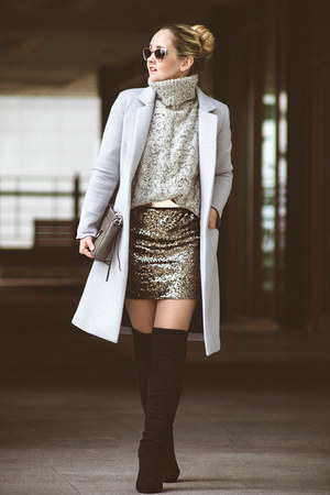 silver OASAP coat - black similar Lulus boots - camel Sheinside dress