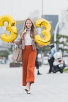 light pink Choies jacket - tan Uterque bag