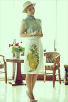 peach OASAP heels - aquamarine Miss Nabi blouse - peach asos ring