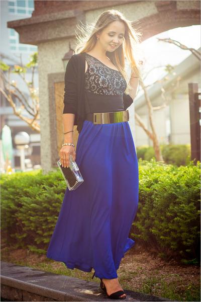 blue Forever 21 skirt - gold OASAP belt - black Vedette intimate