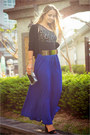 blue Forever 21 skirt - gold OASAP belt - black Vedette intimate