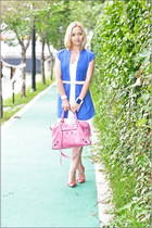 white Victorias Secret dress - bubble gum balenciaga bag - red Guess heels - whi