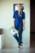 silver DNKY watch - blue H&M blazer - yellow Red n bold bag