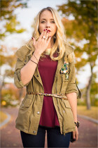 olive green Topshop jacket - navy Levis jeans - maroon River Island top