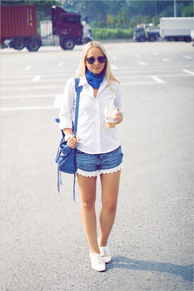 white Miss Nabi loafers - blue Alexander McQueen scarf - blue balenciaga bag