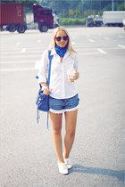 white Miss Nabi loafers - blue Alexander McQueen scarf - blue balenciaga bag