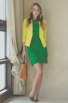 green OASAP dress - yellow vivilli blazer - green PERSUNMALL earrings
