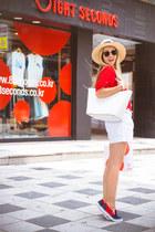 navy OASAP loafers - eggshell H&M hat - white kate spade bag