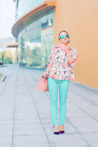 black OASAP heels - aquamarine Forever 21 jeans - white Forever 21 blazer