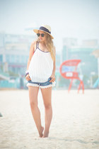 white Sheinside blouse - ivory H&M hat - black ray-ban sunglasses