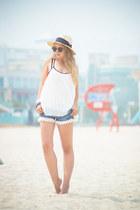 white Sheinside blouse - ivory H&M hat - black ray-ban sunglasses