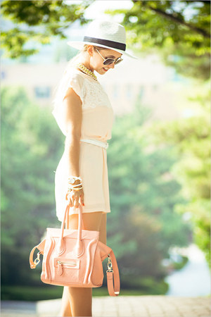 light pink OASAP bag - yellow awwdore necklace - peach inlovewithfashion suit