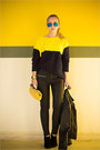 Black-armani-exchange-jacket-yellow-sheinside-sweater-yellow-miss-nabi-bag